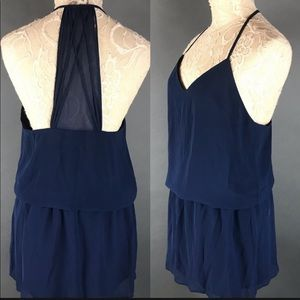 Haute Hippie Caitlyn Navy Blue Blouson Strap Dress